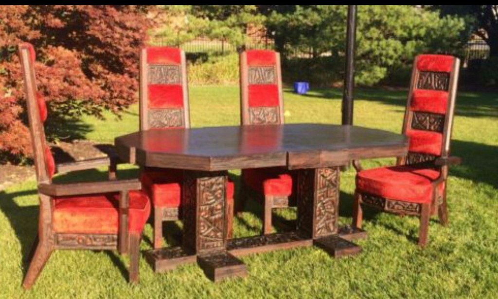 It was perhaps the ugliest dining set ever, but at the same time, none has ever been more beautiful. It is Medieval yet Futuristic. Polynesian yet Viking. Crude yet Masterful.